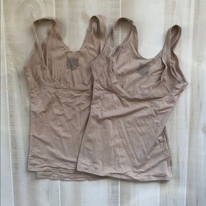 Hanes Set of 2 Nude Tank Shapewear w/ Bust Cutout
